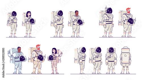 Fotografía Cosmonauts in space suits flat vector illustrations set