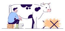Farmer Milking Cow Flat Vector...