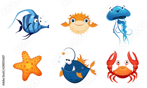 Cute Friendly Sea Creatures Set, Colorful Sea Fishes and Animals Vector Illustra Fototapete