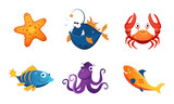 Fototapeta Fototapety na ścianę do pokoju dziecięcego - Cute Friendly Sea Creatures Set, Colorful Adorable Marine Animals Vector Illustration