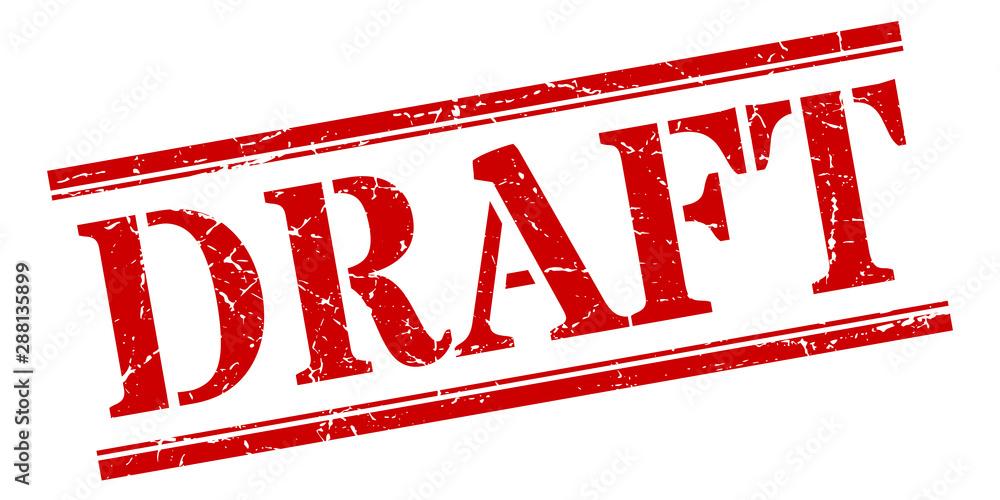 Fototapeta draft stamp. draft square grunge sign. draft