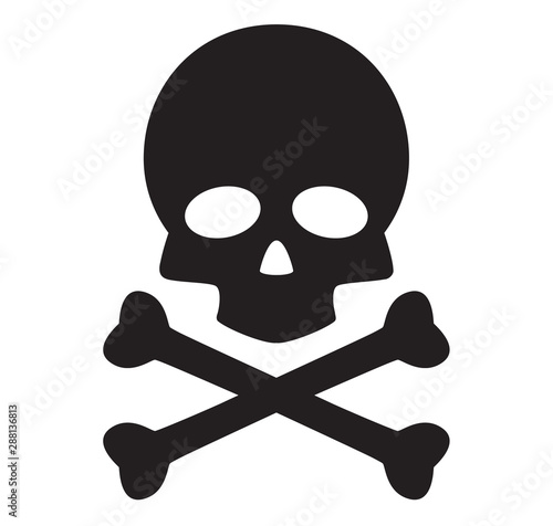 Cuadros en Lienzo skull and crossbones icon on white background