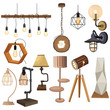 Set of lamps in the loft style. Collection of lamps. Flat illustrations of modern fixtures. Elements for interior design.