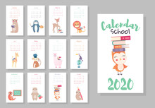 Calendar 2020. Cute Monthly Calendar With Cute Animals Student. Hand Drawn Style Characters For School With Owl, Raccoon, Lama, Deer, Beaver, Lion, Fox, Moose, Bunny, Bear, Hedgehog, Giraffe
