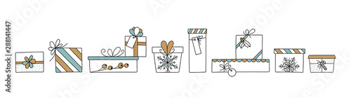 Hand drawn Christmas gift set illustration with bows, labels, barries and candies