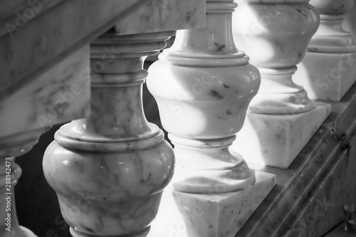Balusters made of white marble Canvas Print