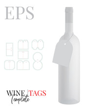 Bottle Neck Hanger Template, Vector With Die Cut / Laser Cut Layers. Pocket Hanger, White, Clear, Blank Isolated Mock Up On White Background.  Packaging Design, Ready For Your Logo