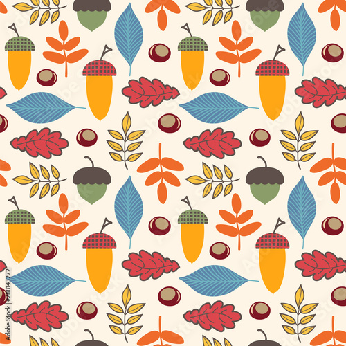 fototapeta na drzwi i meble Seamless pattern with acorns, chestnuts, leaves. Autumn vector background.