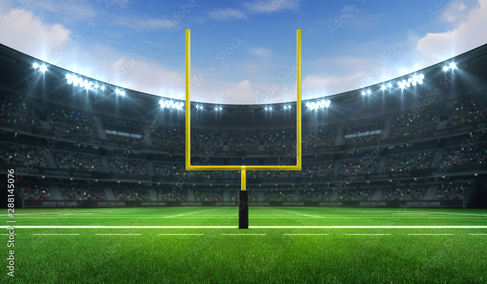 Fototapety, obrazy: American football league stadium with yellow goalpost front and fans, frontal field view, sport building 3D professional background illustration