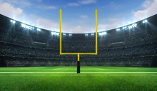 American Football League Stadium With Yellow Goalpost Front And Fans, Frontal Field View, Sport Building 3D Professional Background Illustration