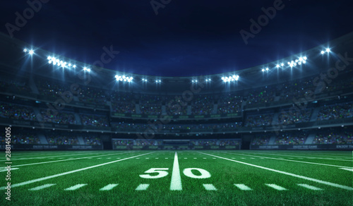 Fotomural American football league stadium with white lines and fans, illuminated field si