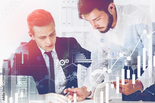 Fotomural Two businessmen in office, graphs