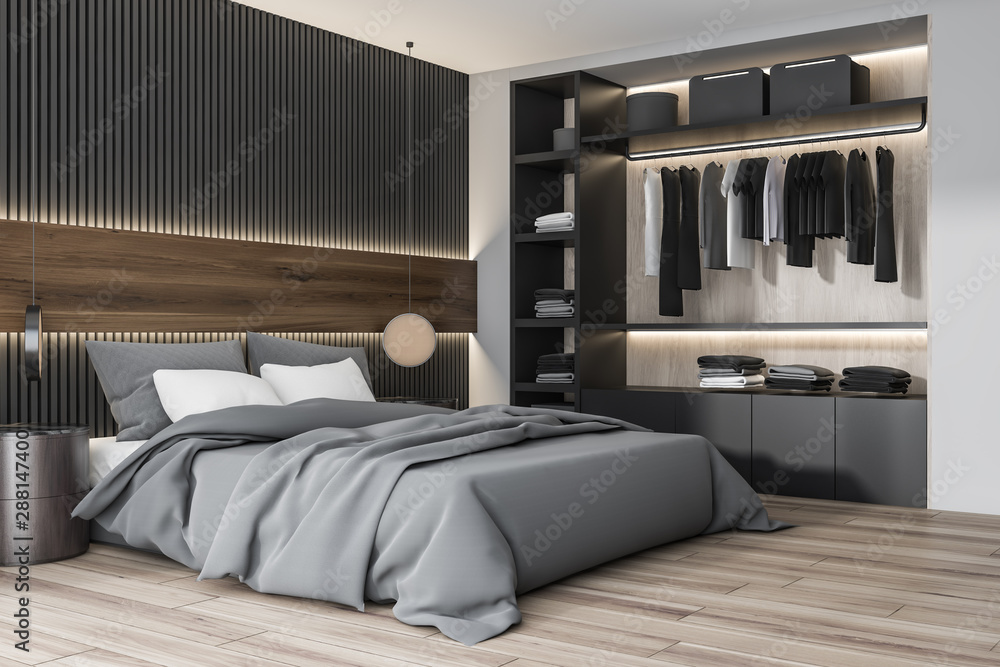 Fototapety, obrazy: Wooden and white bedroom corner with wardrobe