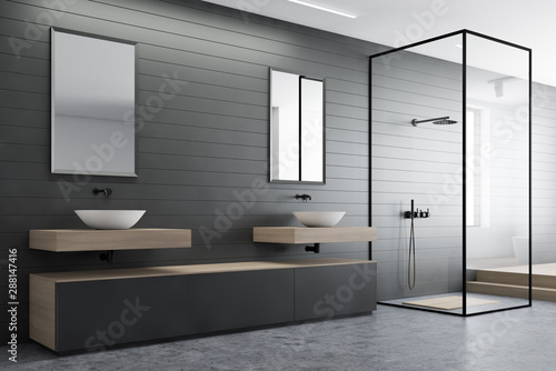 Tableau sur Toile Gray bathroom corner, sink and shower