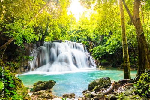 Huai Mae Khamin Waterfalls in Tropical Rainforest at Kanchanaburi Province, Thailand - 288150425