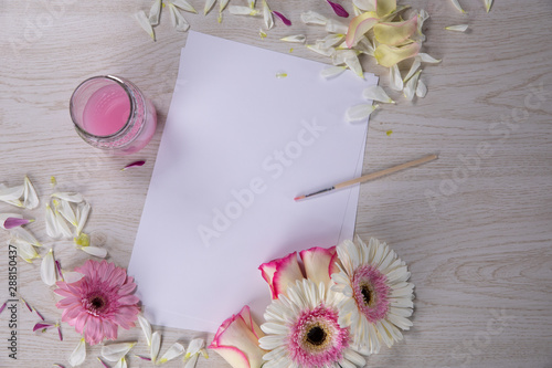 New sheet surrounded by watercolor, flower and petal