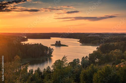 Sunset over the Jedzelewo lake in Stare Juchy, Masuria, Poland