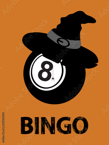Halloween bingo ball with hat and text