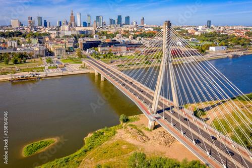 Obraz Warszawa z drona, Most Świętkorzyski nad Wisłą - fototapety do salonu