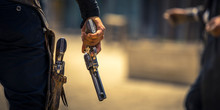 Man Holding His Six-shooter Re...
