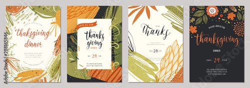 Thanksgiving greeting cards and invitations. - 288165846