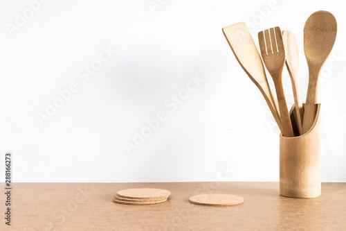 Fotomural  wooden kitchen utensils