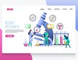Blood research vector website landing page design template