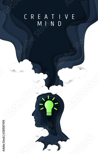 Foto Creative mind poster, vector paper cut illustration