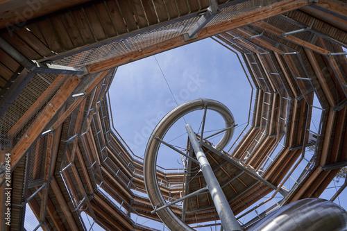 Bad Wildbad, Germany - April 22, 2019: Baumwipfelpfad Treetop walk tower with slide in Schwarzwald Forest Tablou Canvas