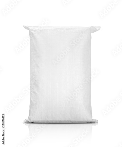 Obraz sand bag or white plastic canvas sack for rice or agriculture product - fototapety do salonu
