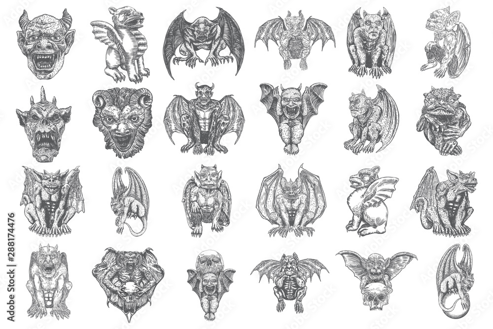 Fotografie, Obraz Set of mythological ancient gargoyle creatures, human and dragon like chimera with bat wings and horns