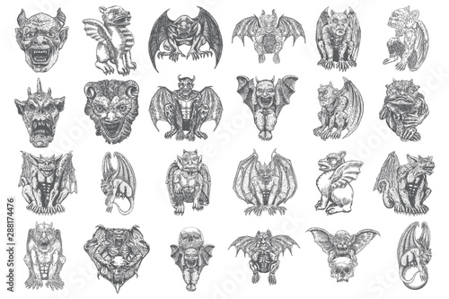Leinwand Poster Set of mythological ancient gargoyle creatures, human and dragon like chimera with bat wings and horns