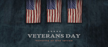 American National Holiday. US Flag Background With American Stars, Stripes And National Colors. Text: Veterans Day