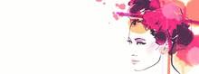 Banner Of A Japanese Geisha Wo...