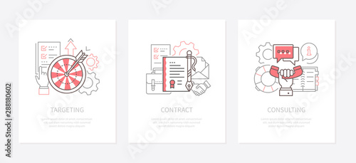 Photo Business strategy - line design style icons set