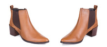 Pair Of Classical Woman Cowboy Suede Boots Shoes. Two Isolated.
