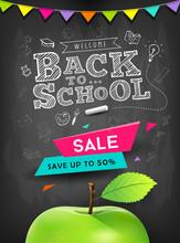Back To School Vector Apple Sale Concept Design On Blackboard Background, Illustration
