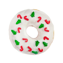 Christmas Donut With White Icing And Sprinkles Isolated On White Background.