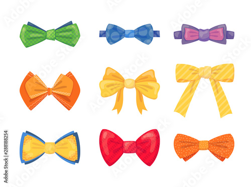 Fotografia Fashion tie bow accessories cartoon with tied ribbons set