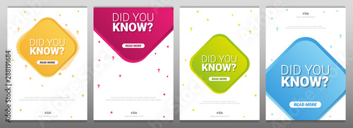 Obraz Did you know labels. Set of Banners or sticker with Interesting fact. - fototapety do salonu