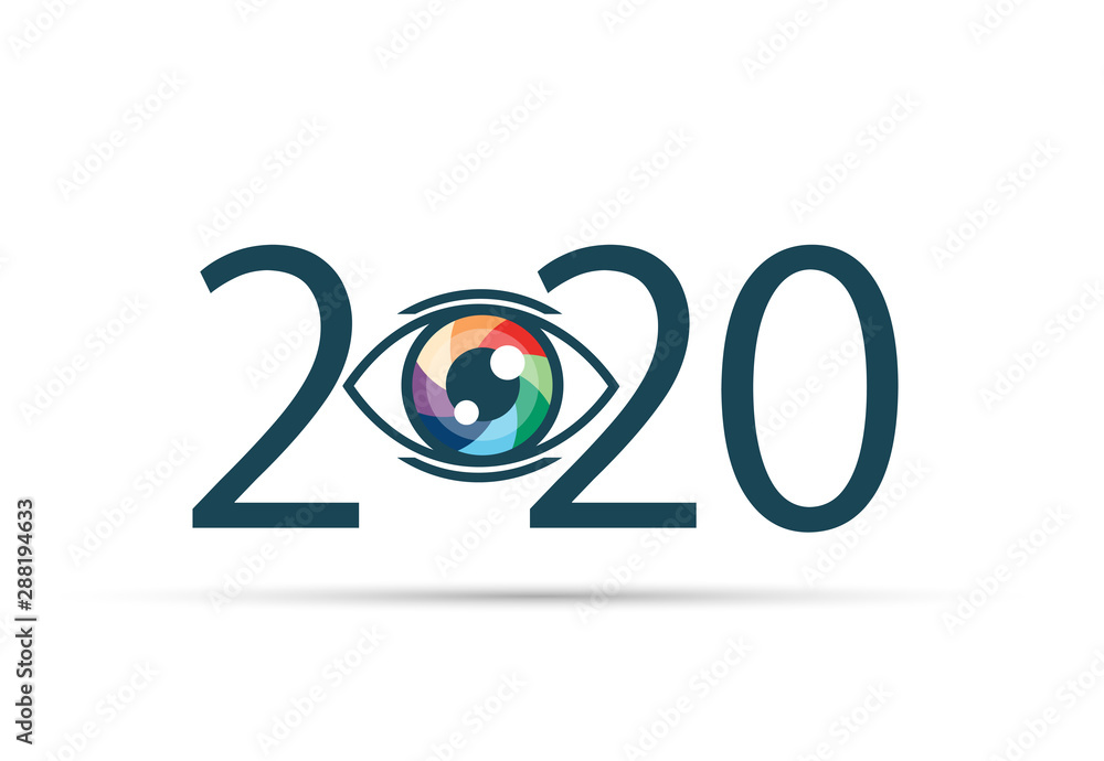 Fototapeta Happy new year 2020. 2020 with vision eye icon