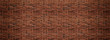 Leinwanddruck Bild - Red brick wall. Texture of old dark brown and red brick wall panoramic backgorund.
