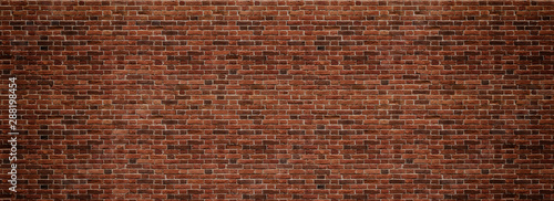 Red brick wall. Texture of old dark brown and red brick wall panoramic backgorund. - 288198454