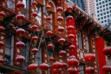 Facade With Red Motifs In San Francisco's Chinatown