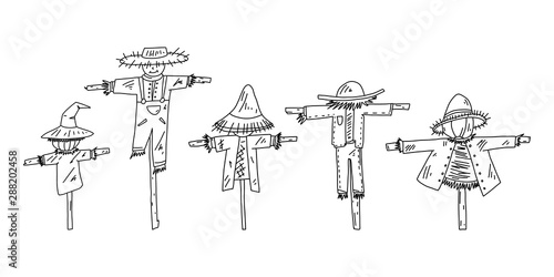 Fotografie, Obraz Advertising flyer set scarecrow sketch hand drawn.