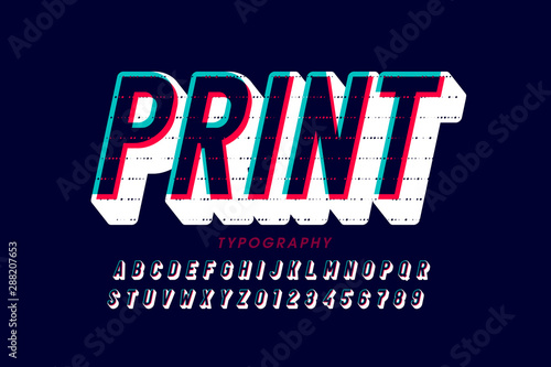 Leinwand Poster Offset print style font design, alphabet letters and numbers