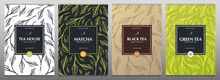 Collection Tea Banners. Green And Black Tea, Matcha Japanese Tea. Hand Draw Leaves On The Background.