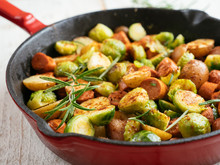 Brussels Sprouts With Vegan Sausages And Potatoes