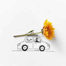 Drawing Car With A Man Carrying An Orange Flower On A Gray Backg
