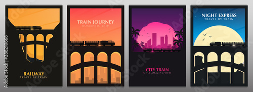 Fotografía Set of Travel by Train banners